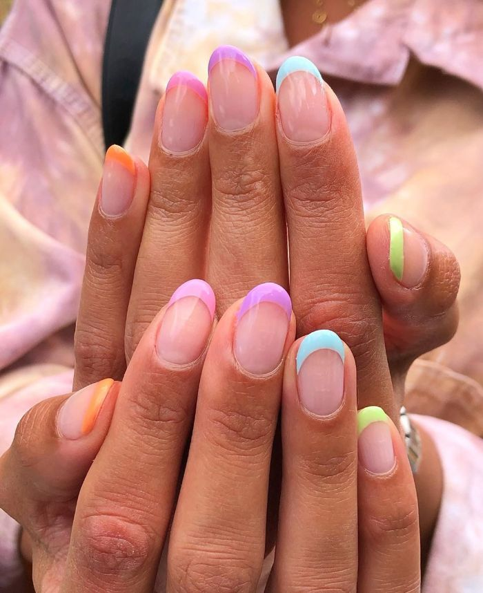 blue green orange purple pink yellow french manicure in the colors of the rainbow summer nail designs