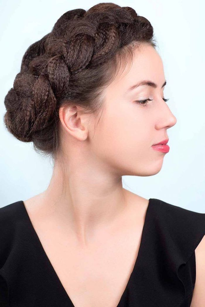 braided crimped hair wavy crimped hair side braid on woman with brown hair wearing black top