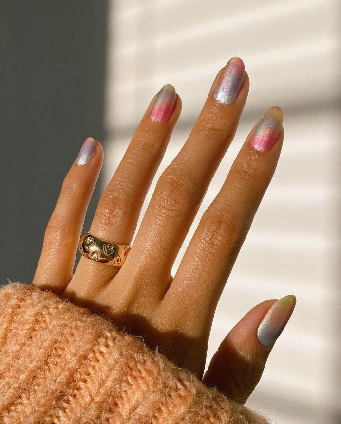 colorful ombre glitter nails in the colors of the rainbow acrylic nail ideas medium length nails
