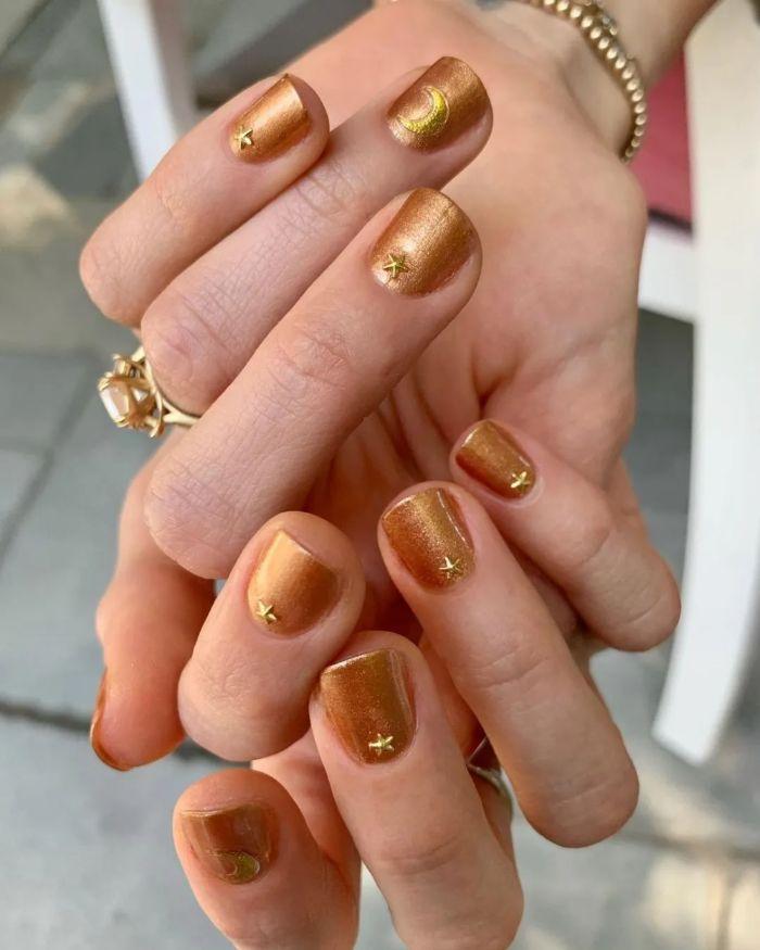 copper gold nail polish on short square nails short nail designs stars and moons decorations