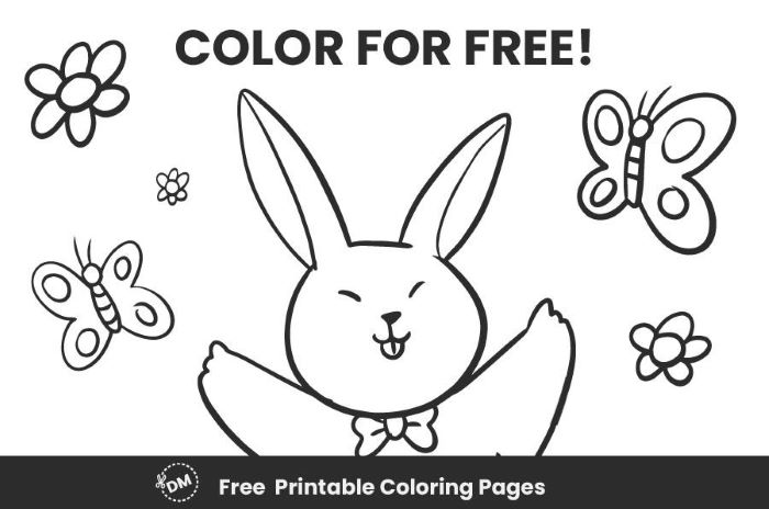 creative coloring page in black and white of bunny surrounded by flowers butterflies