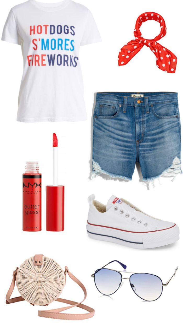 denim shorts white t shirt 4th of july outfits converse sneakers red scrunchie sunglasses bag red lip gloss