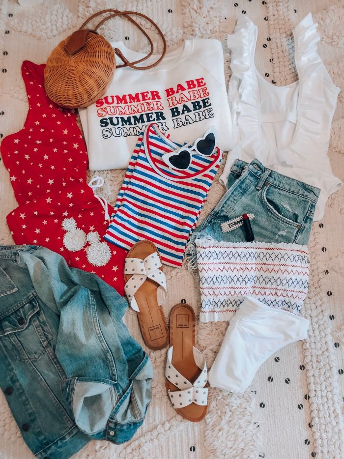 different pieces of clothing 4th of july shirts denim shorts jacket white red blue t shirts dress