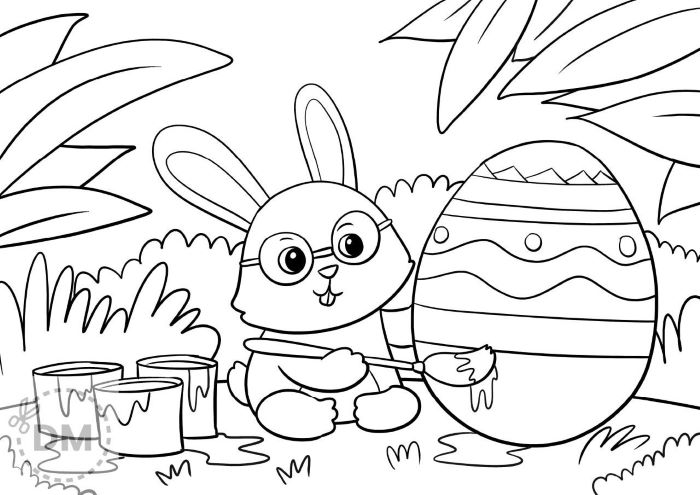 easter coloring page creative coloring bunny painting egg paint buckets next to it