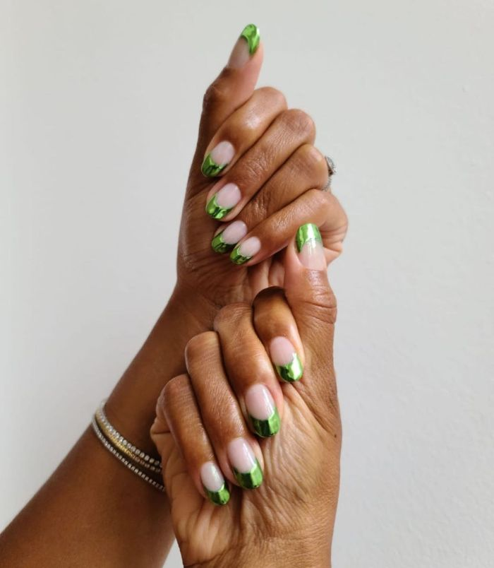 emerald green french manicure made with foil nail designs 2021 medium length nails