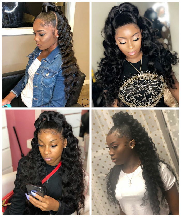 four side by side photos crimped hair in high ponytail for women wearing different clothes