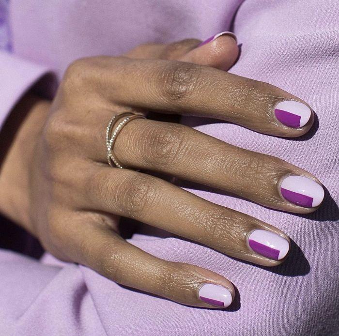 gel nail designs dark purple squares decorations on light purple nail polish short almond shaped nails