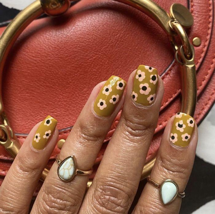 green nail polish with pink flower decorations acrylic nail ideas medium length square nails