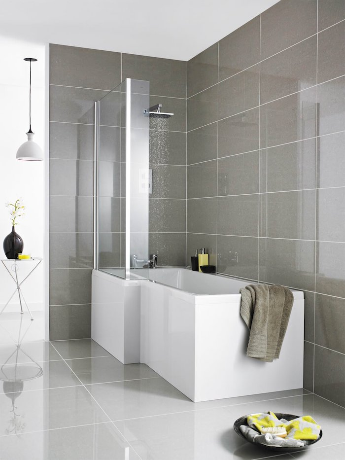 l shaped shower bath ideas large gray tiles glass partial enclosing large white tiles on the floor