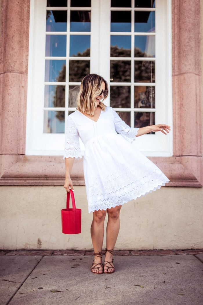 lace white dress brown leather gladiator sandals red bag 4th of july shirts worn by blonde woman with sunglasses