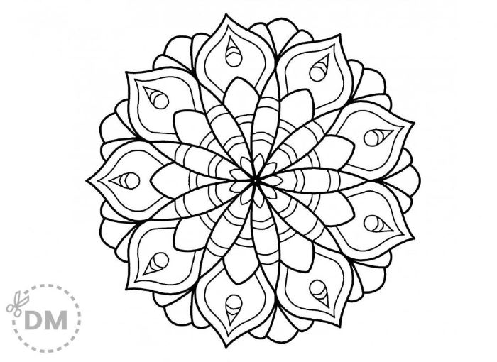 mandala coloring pages creative coloring mandala flower in the middle in black and white