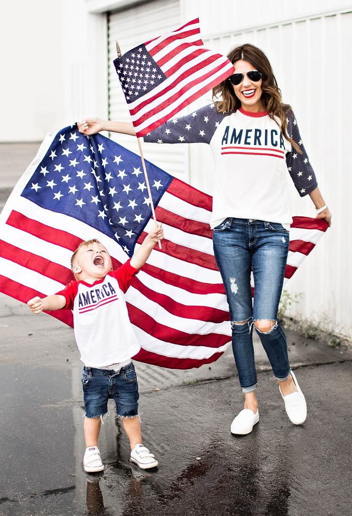 mom and son holding american flags 4th of july shirts for women wearing jeans america blouses