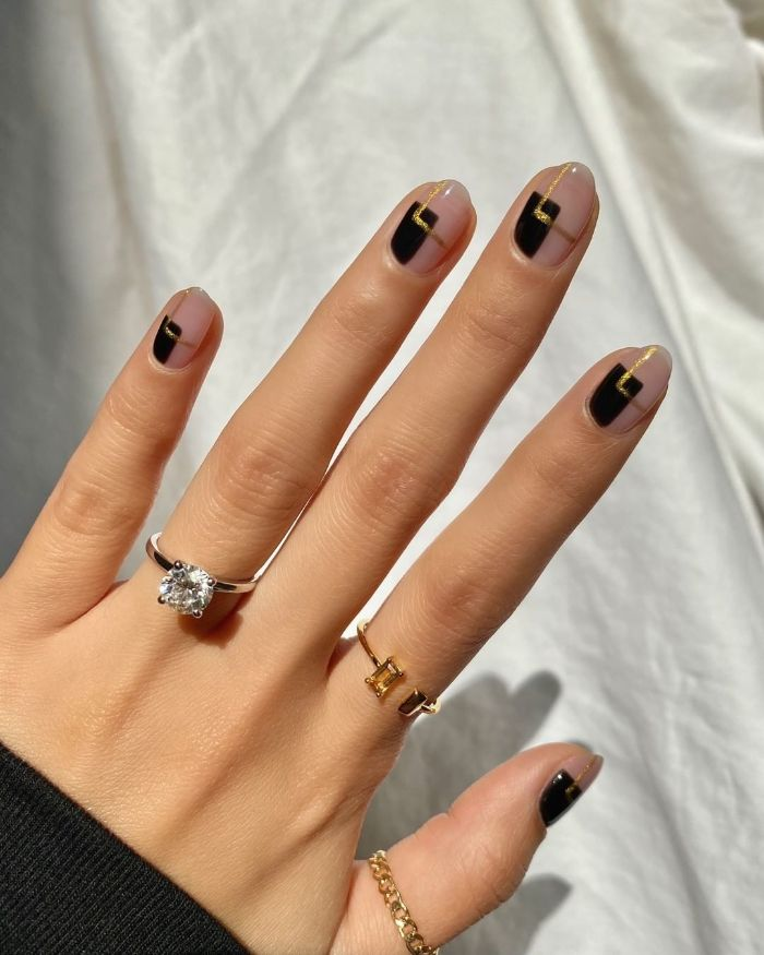 nail designs 2021 short squoval nails with negative space black squares gold lines