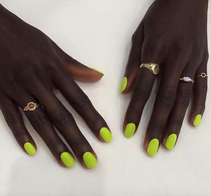 neon green nail polish on each nail nail design ideas short squoval nails