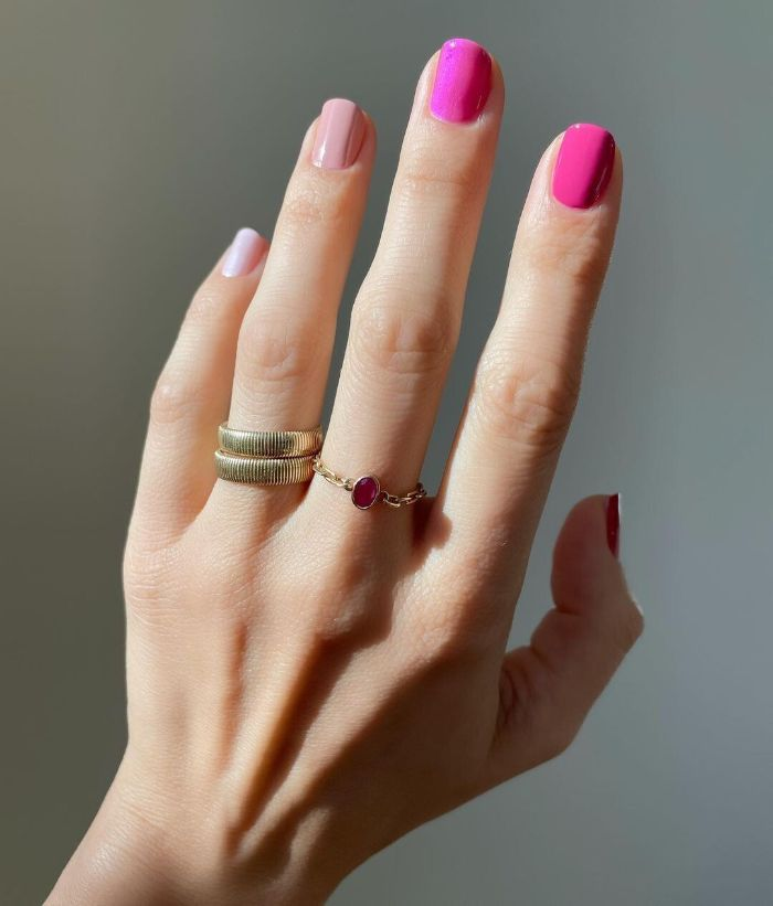 ombre nails in different shades of pink acrylic nail designs each nail with different nail polish
