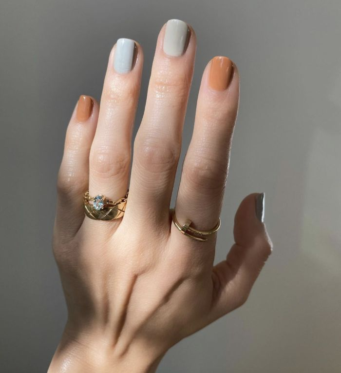 orange and gray nail polish different on each finger spring nail designs short nails