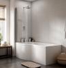 p shaped bath in bathroom with white tiles on the walls dark tiles on the floor shower bath ideas