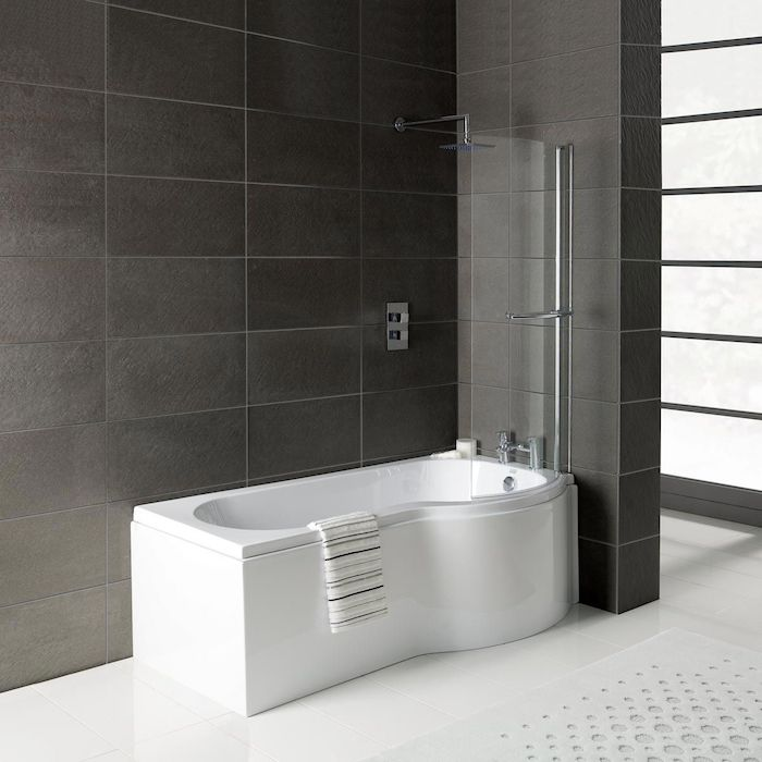 p shaped shower with large black tiles shower bath ideas small glass partial enclosing