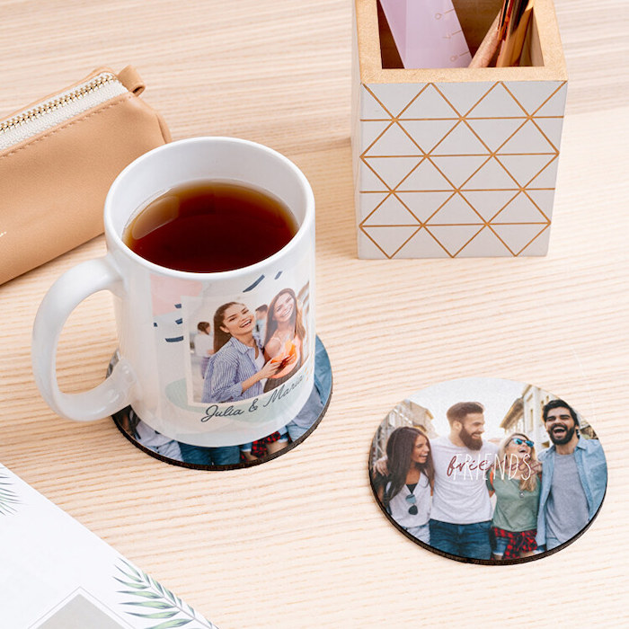 personalise your home personalised coasters with photo of four friends placed on wooden table