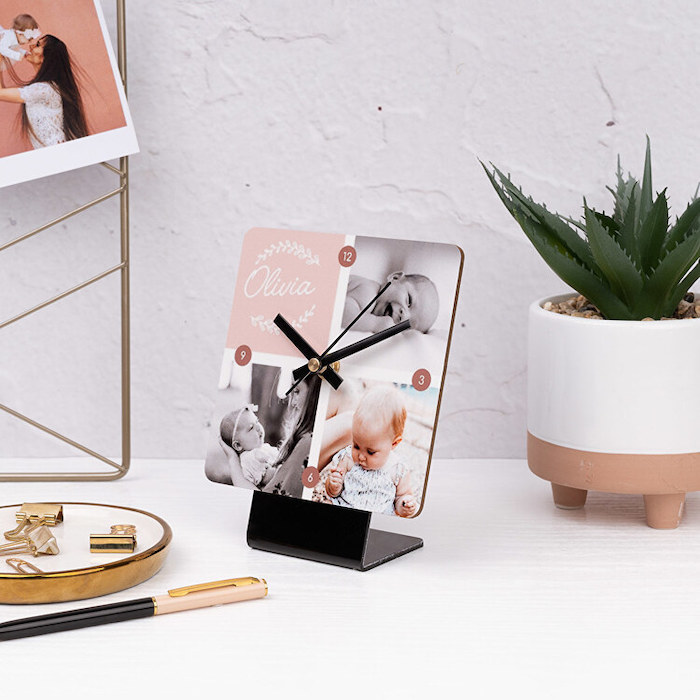 personalised table clock with photos of baby personalise your home placed on white wooden table