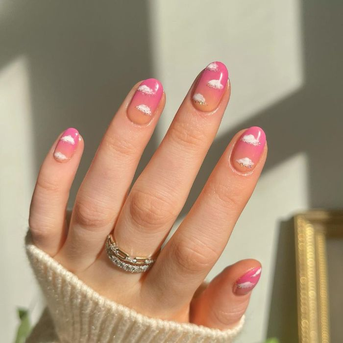 pink and orange ombre nails acrylic nail ideas white clouds decorations