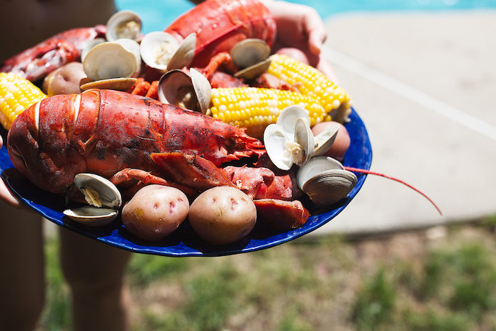 plate with lobster boil how to boil shrimp potatoes corn on the cob