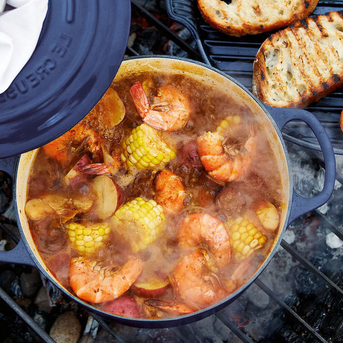 pot filled with water shrimp boil recipe shrimp potatoes corn on the cob in the water