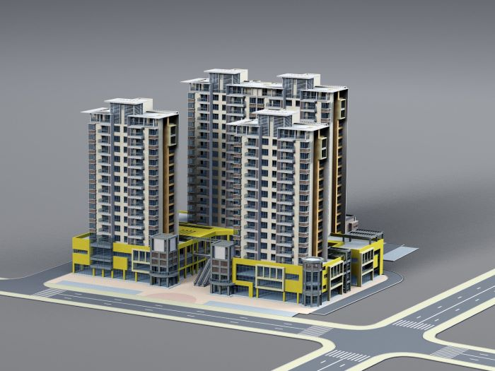reality capture 3d digital drawing rendering of three large buildings skyscrapers