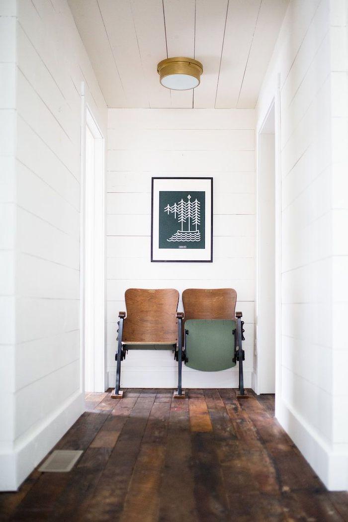 rustic decor hallway wall decor ideas vintage school chairs white shiplap on the walls vintage wooden floor