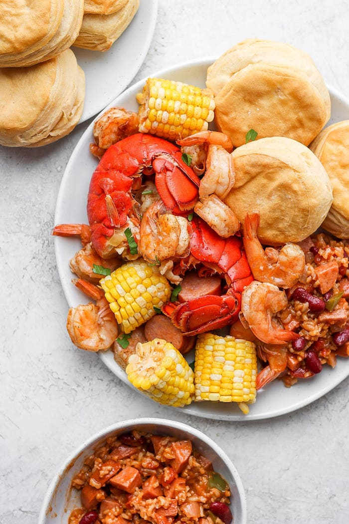 salad with beans rice how long to boil shrimp bread on the side of plate with corn on the cob sausages shrimp