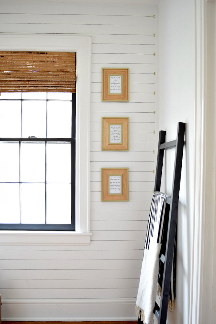 shiplap on the wall decorating ideas for entry hall three small framed quotes on the wall storage ladder