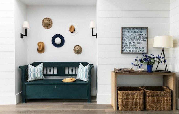 shiplap on the walls entry way decorating ideas vintage bench in dark green with throw pillows hata hanging on the wall