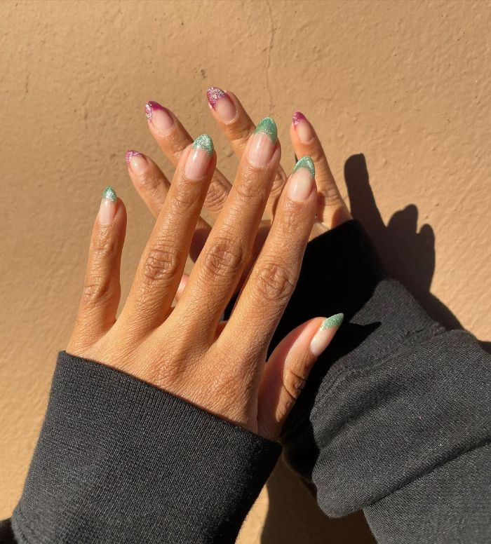 short nail designs french manicure in pink and emerald glitter on medium length nails