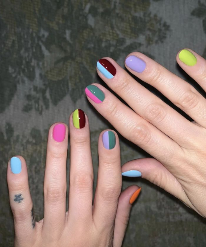 short nails with different colors on each nail spring nail designs yellow purple brown blue green pink orange