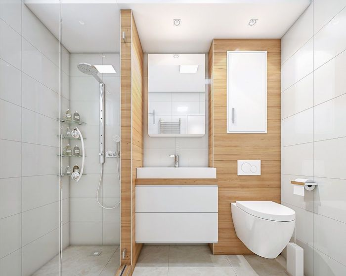 shower bath ideas bathroom with large white tiles shower with glass enclosing wooden details around the sink