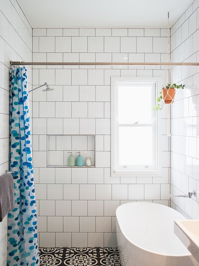 shower curtain in white with blue dots shower bath ideas white tiles on the walls black patterned tiles on the floor