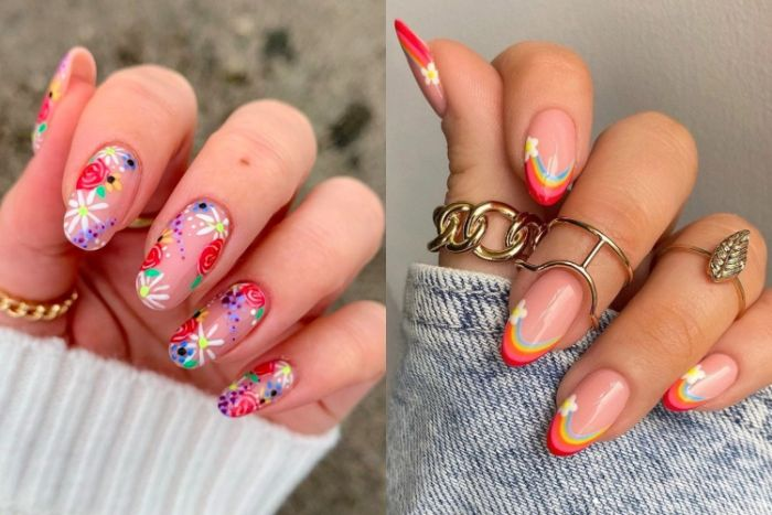 side by side photos of colorful spring nails cute short acrylic nails flowers and rainbow decorations