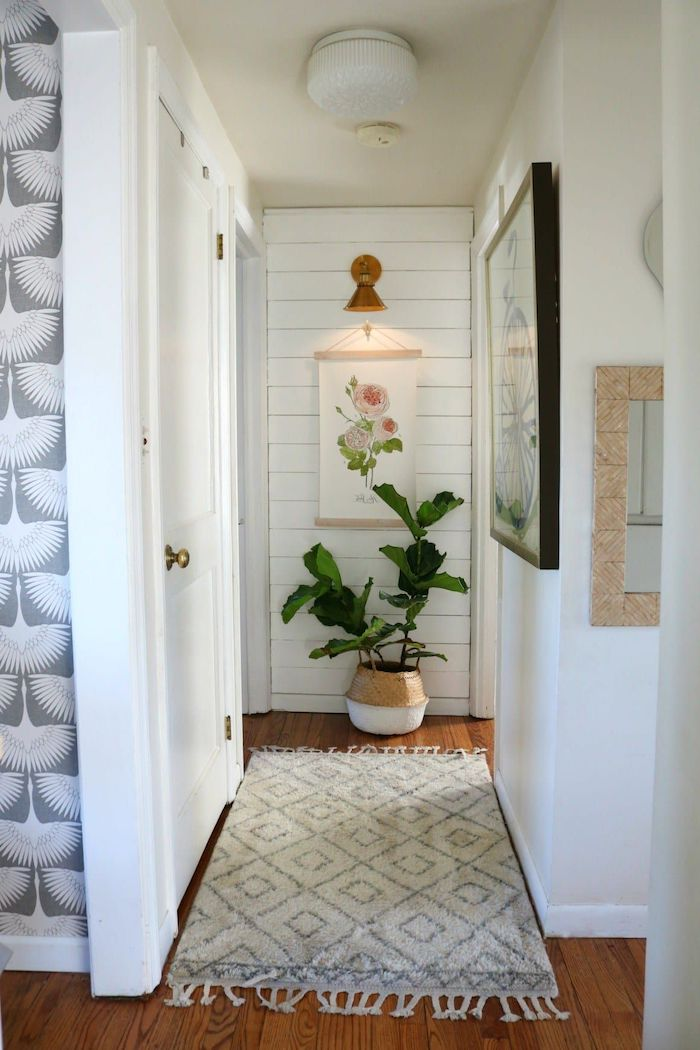 small hallway wall decor framed art on the walls potted plant white rug on wooden floor shiplap on one wall