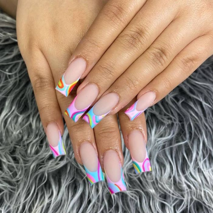 square nails with abstract french manicure nail design ideas matte finish on blue pink orange purple rainbows