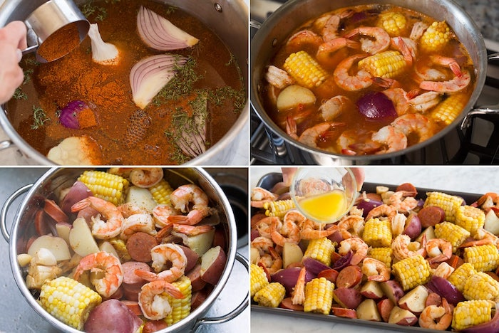 step by step diy tutorial in four steps cajun seafood boil recipe shrimp boil with potatoes corn on the cob sausages