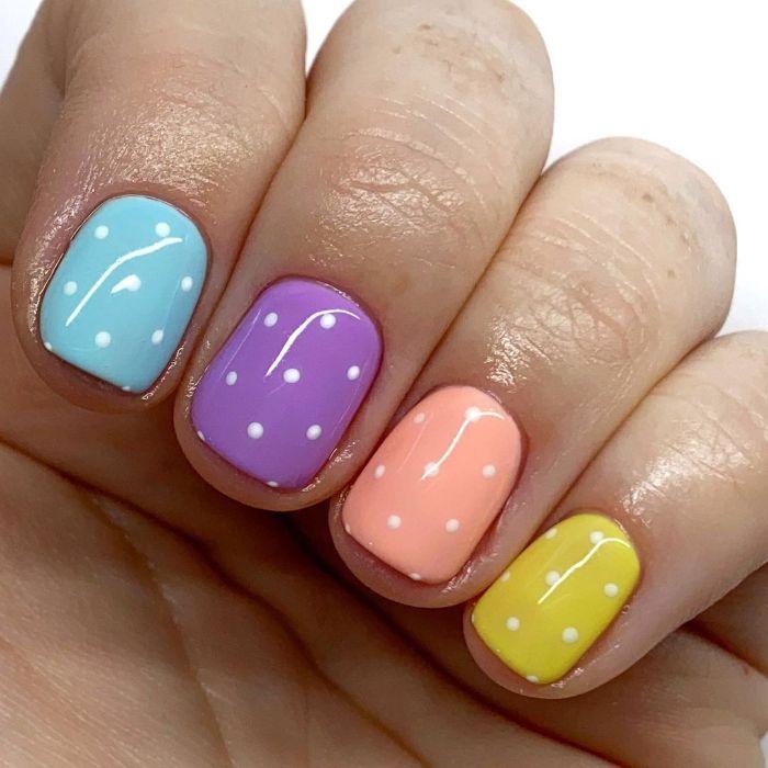 white dots on blue purple pink yellow nail polish acrylic nail designs short nails