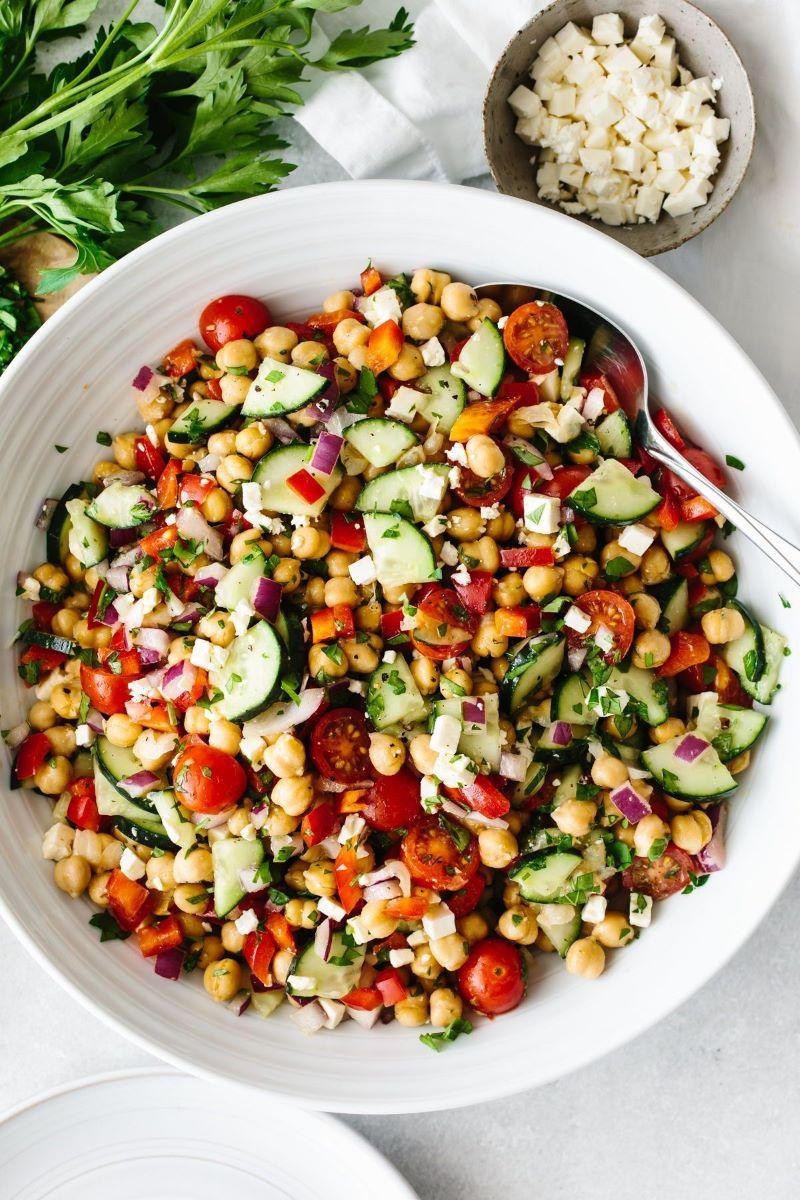 mediterranean diet recipes chickpea salad with zucchini