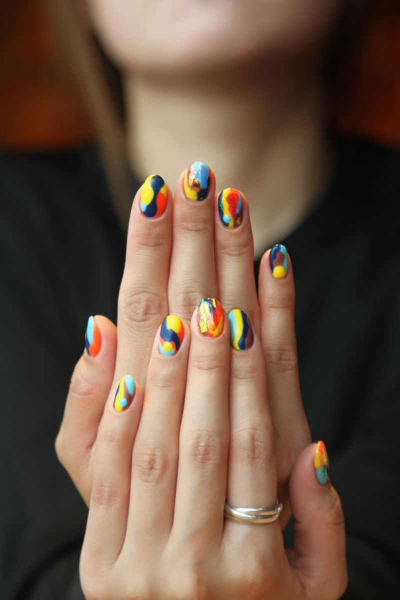 abstract colorful almond gel nail designs