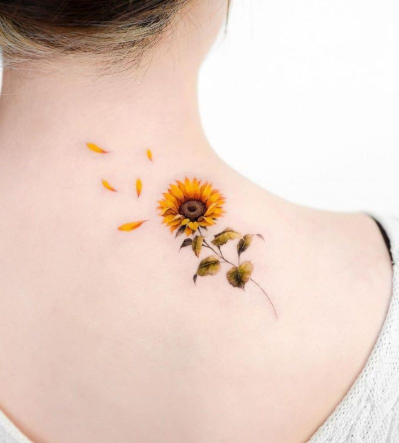 back of neck sunflower tattoo meaning