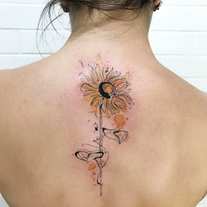 back tattoo sunflower tattoo meaning abstract design