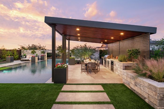 backyard patio ideas large pool with outside kitchen area next to it barbecue dining table
