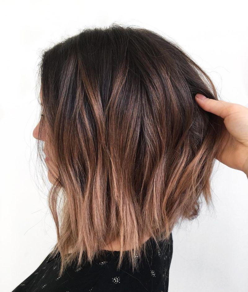 balayage wavy long bob haircut blonde ends