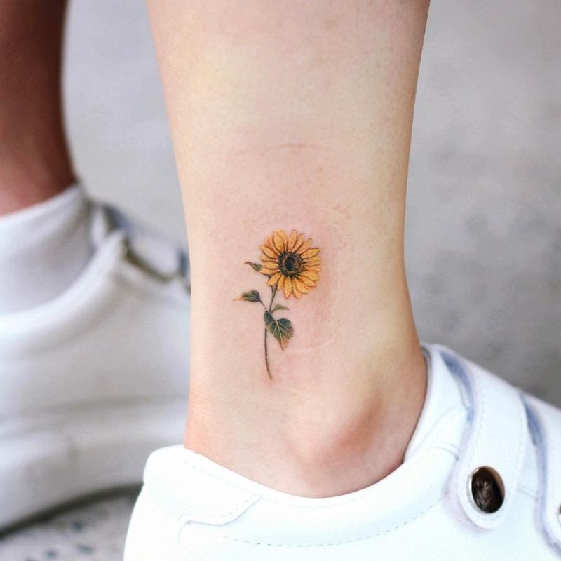 black and white sunflower tattoo ankle tattoo