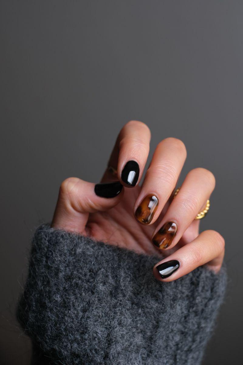black brown gel nail designs short