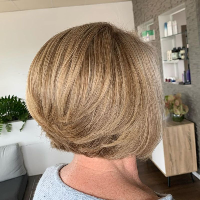 blonde hair hairstyles for women over 50 short bob